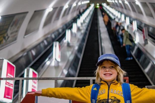 The really long escalators at the metro station